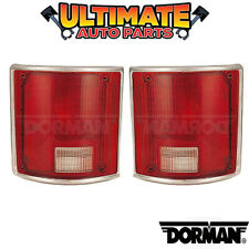 (Chrome Trim) Tail Light Lamp (Left and Right Set) for 80-86 Chevy / GMC Pickup