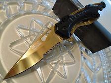 Mtech Ballistic Assisted Black Gold Titanium Sport Bike Pocket Knife Cap Lifter