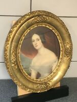 Antique Victorian Gold Oval Picture Frame / Lithograph Print of Beautiful Woman