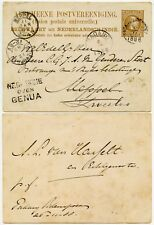 DUTCH EAST INDIES STATIONERY NED INDIE OVER GENUA HANDSTAMP MARITIME 1888 SHIP