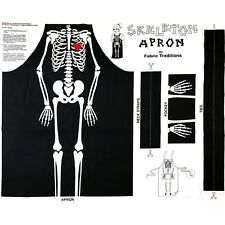 "Halloween Skeleton Bones Cotton Fabric Apron Cut & Sew Project 36""""X44"" Panel"