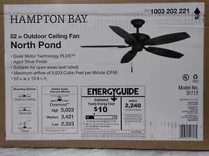 Hampton Bay North Pond 52 in. Indoor/Outdoor Aged Silver Ceiling Fan
