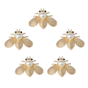 5pcs Bee Shape Rhinestones Pearl Buttons Embellishment for DIY Phone Case