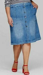 Ava /& Viv 2X Fully Lined Dark Blue Floral Pleated Skater Skirt Wear To Work 2XL