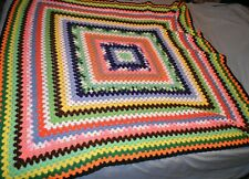 HM Afgan Vintage Afghan crochet blanket Colorful Squared Design Rainbow 5'×5'