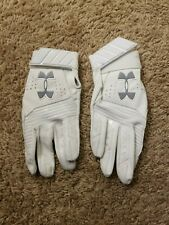 New Men's Small Under Armour Baseball Batting Gloves White