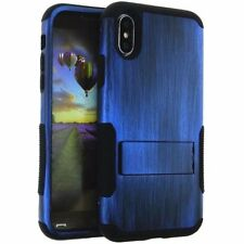For iPhone X - Hybrid HARD & SOFT Kickstand Armor Case Cover Plastic Blue Wood