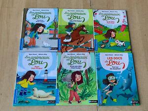 lot 6 livres série Les animaux de Lou - Nathan Poche / Premières Lectures CP CE1