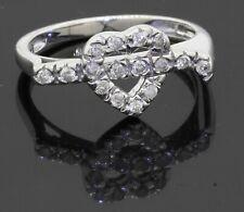 14K white gold elegant lovely 0.32CT diamond heart cocktail ring size 7