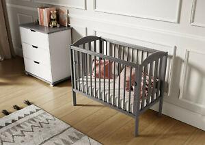 Grey Tobie Cot Baby Mini Cot Space Saver Cot Compact Cot + Mattress 100x50x10cm
