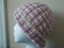 Hand knitted warm 100% wool  + Merino/mohair blend beanie/hat,  cool pink/white