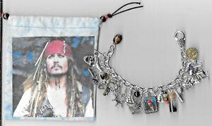 PIRATES OF CARIBBEAN Inspired Charm Bracelet Altered Art  Johnny Depp  Gift Bag