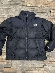 The North Face 600 Goose Down Youth Boys Full Zip Black Puffer Jacket Coat Sz XS