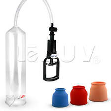 Penis Vacuum Pump by LeLuv Clear Hose T-Grip with 3 Sizes Cylinder Seals