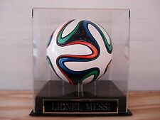 Soccer Ball Display Case With A Lionel Messi Nameplate
