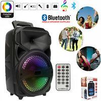 Wireless Bluetooth Speaker Big LED Light Stereo Tailgate Loud FM Party Karaoke