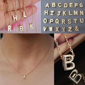 Letra Personalizada Nombre Inicial Collar de Cadena Plata Oro Colgante Regalo