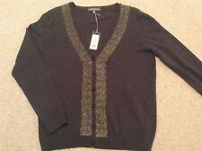 Laura Ashley Top Charcoal Grey,Lace Trim long sleeves (size 14)
