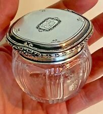 Antique Art Deco Sterling Silver Topped~Etched Glass vanity Powder box~fancy Jar