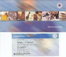 Ticket - Rangers v Kilmarnock 11.02.2004 - Hospitality ticket in folder