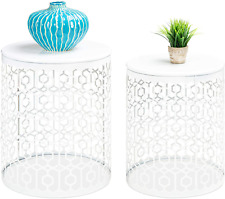 Best Choice Products Metal Accent Table, Set of 2 Decorative Round End Tables Ni