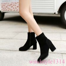 Womens Side Zip Mid Calf Boots Square Toe Block Heel Suede Occident New Shoes SZ