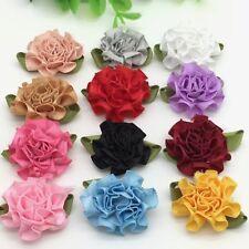 10pcs Carnations Satin Ribbon Flower Craft Decoration Applique craft sewing #401