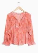 & Other Stories x TOMS Gold Embossed Blouse in Peach - Sz 4