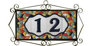 Mosaic Ceramic Hand Painted Spanish Door Number Tiles & Filigree Metal Frames