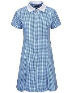 Banner quality school gingham dress, zipped front, pleats, matching scrunchie
