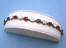 Vintage LT Thailand Genuine Opal and Garnet Sterling Silver Tennis Bracelet 7.25
