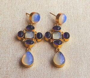 Classic Handmade Gold Plated Amethyst-Pink Opal Earring-E4-443-20