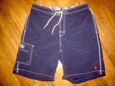 RALPH LAUREN POLO Navy Red Pony Logo Mens MEDIUM Swim suit trunks board shorts M