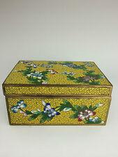 Chinese Floral Cloisonne Box on Yellow Ground No Feet c 1920 Chrysanthemum Peony