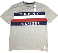 Tommy Hilfiger T-Shirt Mens Graphic Tee Flag Logo Crew Neck Short Sleeve Gray