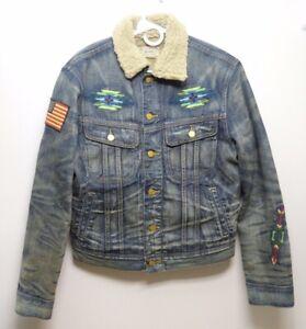 Polo Ralph Lauren Aztec Shearling Denim Trucker  jacket  size S   New