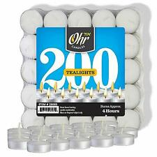 Ohr Tea Light Candles - 200 Bulk Pack - White Unscented Travel, Centerpiece,