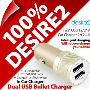 Desire2 Dual USB Fast In Car Charger 12/24V 2 x 2.4A Smart Phone MP3 Tablet iPad