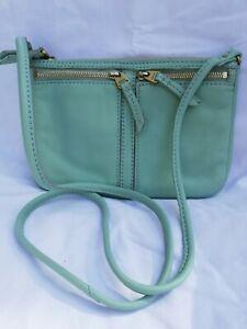 Fossil crossbody bag shoulder handbag real leather Mint-Green AsNew
