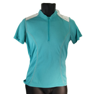 Canari Womens SMALL Bicycle Jersey 1/2 Zipper Teal Blue White Back Pockets NEW