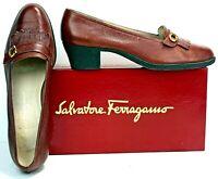 Salvatore Ferragamo Women's Gancini Pumps size 8B Brown Leather Kilty WF10