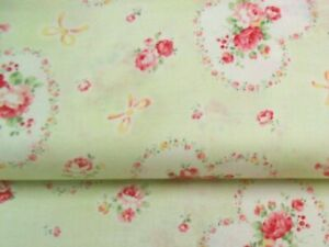 Cottage Shabby Chic Lecien Princess Rose Hearts Fabric 31266L-60 Lime BTY
