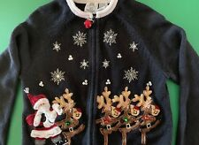 TIARA GIRLS CHRISTMAS SWEATER Size 8-10 BEADS SEQUINS EMBROIDERY APPLIQUES