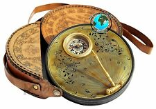 Brass Vintage Sundial Compass w/Leather Case Steampunk Accessory Handmade Gift