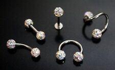 AB Ferido Shamballa Crystal Ball Earing Labret Nipple Eyebrow Horseshoe Bar Ring