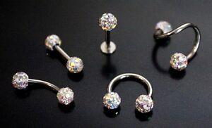AB Ferido Shamballa Crystal Ball Nose Stud Earing Nipple Body Piercing Bar Ring