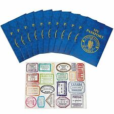 12 Passports Sticker Book, Fake Passport Sticker Books - For School Projects,