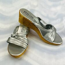 ITALIAN SHOEMAKERS  Size 11M Silver Open Toe Cork Wedge Heel Sandals Italy