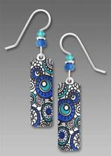 Adajio Earrings White Column with Turquoise and Blue Circles Handmade in USA