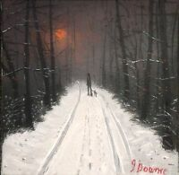 "JAMES DOWNIE SIGNED ORIGINAL OIL PAINTING - "" WOODS IN WINTER "" mint & invoice"
